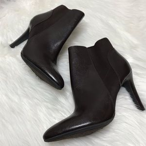 Franco Sarto Dark Brown Faux Leather Booties 10